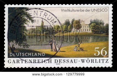 GERMANY - CIRCA 2002: a stamp printed in the Germany shows Garden Kingdom of Dessau-Worlitz, UNESCO World Heritage Site, circa 2002