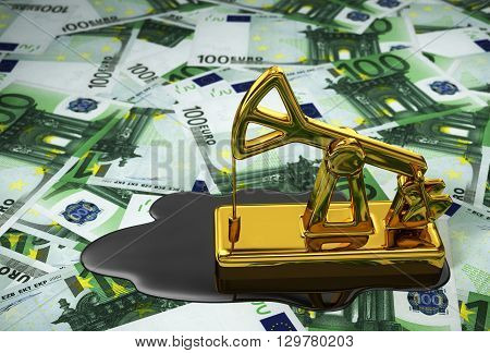 Pumpjack And Spilled Oil Over Euros. 3D Illustration.