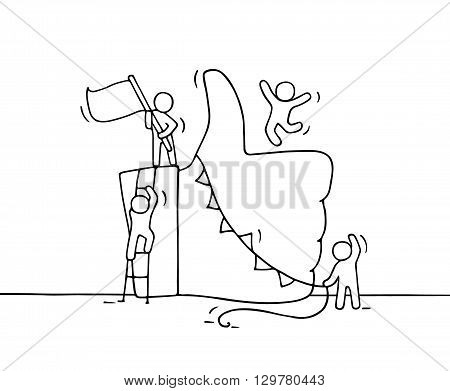 Sketch of working little people with like symbol. Doodle cute miniature of teamwork and hand thumb up. Hand drawn cartoon vector illustration.