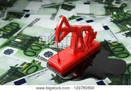 Red Pumpjack And Spilled Oil Over Euros. 3D Illustration.