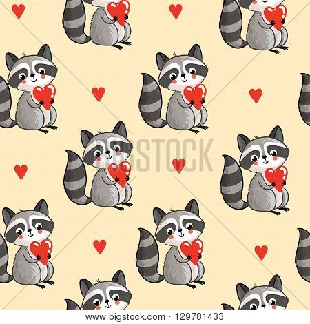Vector seamless pattern with cute raccoon holding a heart in his hands on a white background. Cartoon raccoon in vector.