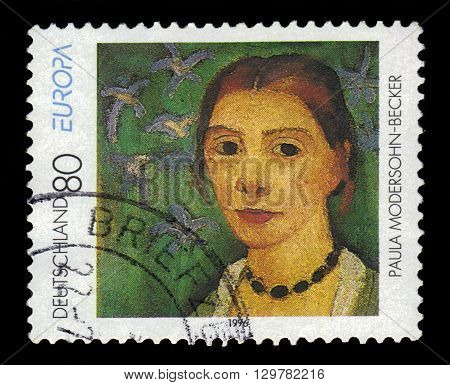 GERMANY - CIRCA 1996: a stamp printed in Germany shows self-portrait by Paula Modersohn-Becker, german painter and one of the most important representatives of early expressionism, circa 1996