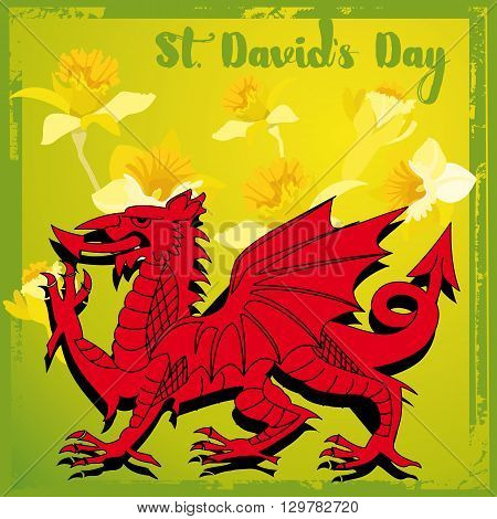 An abstract illustration of the Welsh dragon and daffodils with the text St Davids day