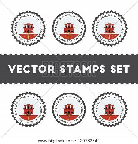I Love Gibraltar Vector Stamps Set. Retro Patriotic Country Flag Badges. National Flags Vintage Roun