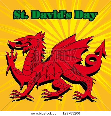 Red Welsh Dragon placed on a sunburst background along with the text St Davids day