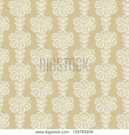 Lace seamless pattern with flowers. White lace floral background.