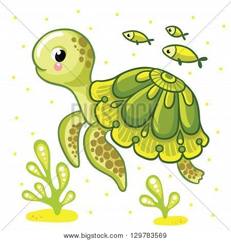 Cute cartoon turtle isolated. Turtle and fish on a white background vector illustration.