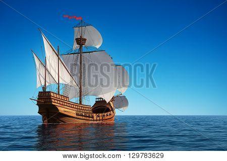 Old Caravel In The Ocean. 3D Illustration.