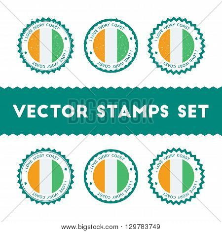 I Love Cote D'ivoire Vector Stamps Set. Retro Patriotic Country Flag Badges. National Flags Vintage