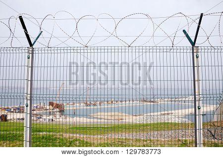 Landscape - The fence on the construction of the bridge Kerch Crimea