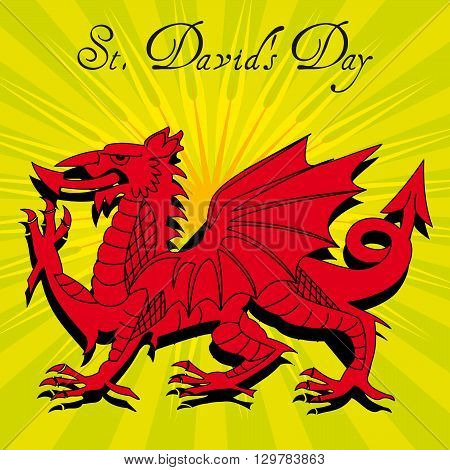 A Welsh dragon illustrated on a sunburst background with the text St Davids day