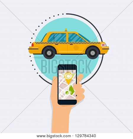 Hand Holding Mobile Smart Phone With Mobile App Search Taxi. Vector Modern Flat Creative Info Graphi
