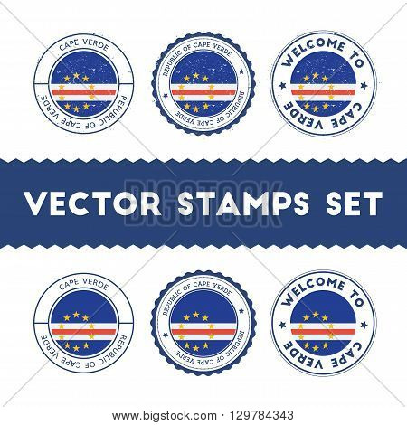 Cape Verdian Flag Rubber Stamps Set. National Flags Grunge Stamps. Country Round Badges Collection.