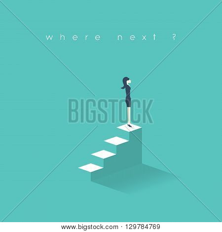 Businesswoman new opportunities concept. Business women career growth on corporate ladder. Professional growth in job concept. Eps10 vector illustration.