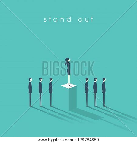 Businesswoman standing out from the crowd business concept with businessmen in line. Talent or special skills symbol. Business concept of equal opportunities. Eps10 vector illustration.