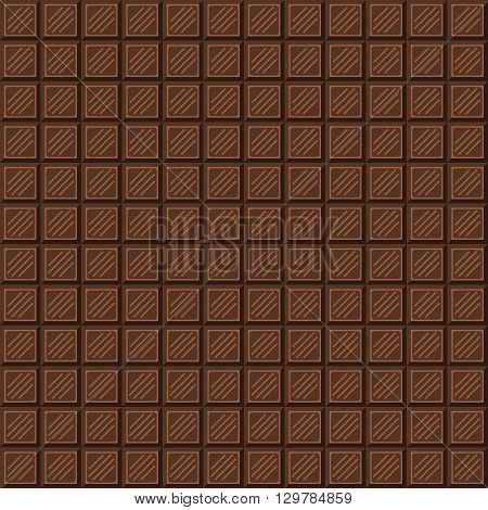 Chocolate bar seamless pattern. Milk chocolate square tiles texture.