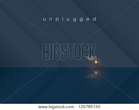 Lake house landscape scene with cottage on water. Holiday or vacation in nature concept. Eps10 vector illustration.