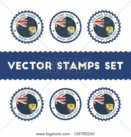 I Love Saint Helena Vector Stamps Set. Retro Patriotic Country Flag Badges. National Flags Vintage R