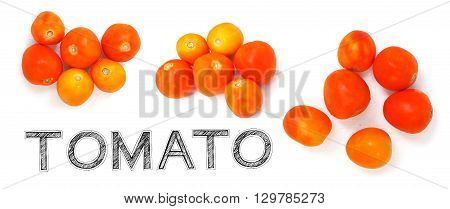 Tomato vegetable raw material for cook to made soup or salad on white background photo isolate in my kitchen and have design my font free hand word.