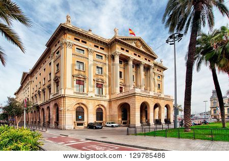 Military government building in Barcelona Spain at day