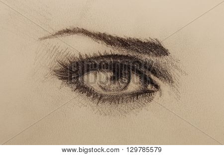Eye drawing, pencil sketch on old paper. Eye contact
