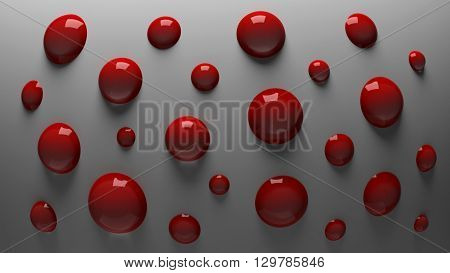 3D rendering red shiny balls on a gray background