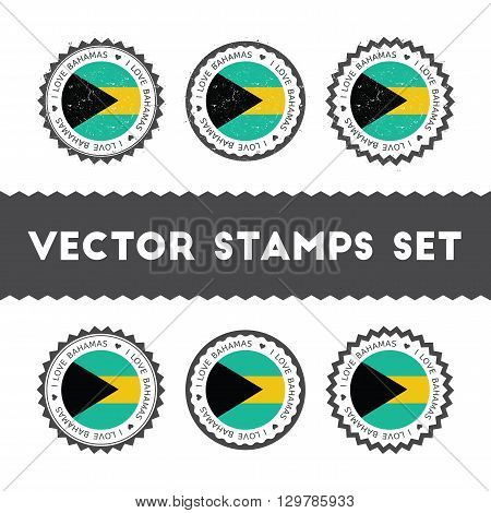 I Love Bahamas Vector Stamps Set. Retro Patriotic Country Flag Badges. National Flags Vintage Round