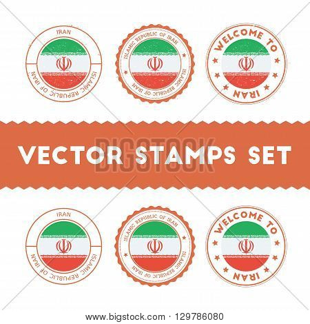 Iranian Flag Rubber Stamps Set. National Flags Grunge Stamps. Country Round Badges Collection.