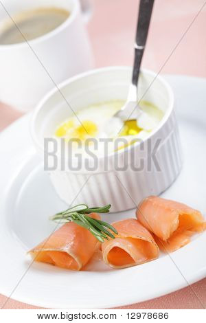 Breakfast With Baked Eggs And Salmon
