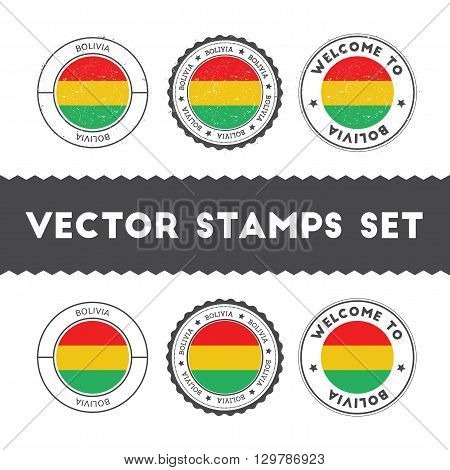 Bolivian Flag Rubber Stamps Set. National Flags Grunge Stamps. Country Round Badges Collection.