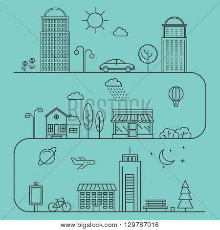 Vector city illustration in linear style. Icons and illustrations with buildings houses and architecture signs. Ideal for business web publications and graphic design. Flat style vector illustration.