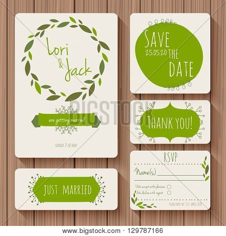 Wedding invitation card set. Thank you card save the date cards RSVP card just married card.