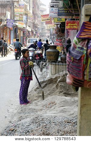 Kathmandu Nepal - April 11 2016: Women laborers doing construction work