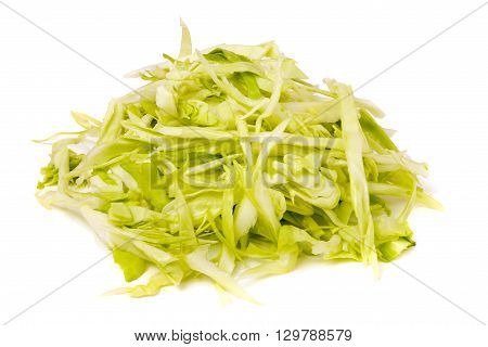 Hill chopped cabbage isolated on white background.