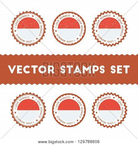 I Love Monaco Vector Stamps Set. Retro Patriotic Country Flag Badges. National Flags Vintage Round S