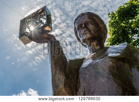 WARSAW POLAND - AUGUST 1 2015. Monument of Polish physicist and chemist first woman to win a Nobel Prize - Marie Sklodowska Curie in Warsaw