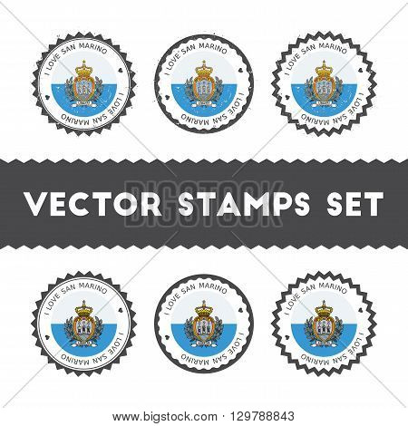 I Love San Marino Vector Stamps Set. Retro Patriotic Country Flag Badges. National Flags Vintage Rou