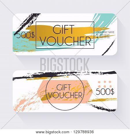 Gift voucher template with gold background Gift certificate. Background design gift coupon voucher certificate invitation currency. Collection gift certificate. Vector illustration.