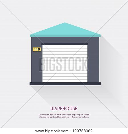 Warehouse. Warehouse Icons Logistic Blank And Transportation, Storage Vector Illustration.