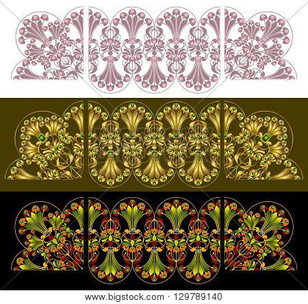 Vector illustration. Set of seamless lacy borders with corner design