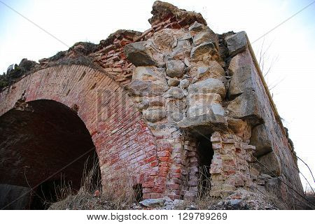 collapsing corner of fortification in the Daugavpils fortress