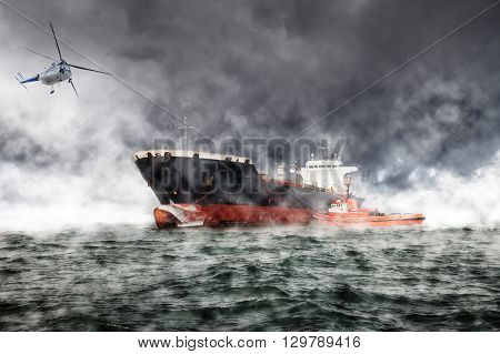 A helicopter rescue mission in difficult stormy weather.