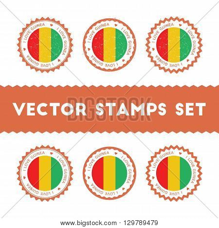 I Love Guinea Vector Stamps Set. Retro Patriotic Country Flag Badges. National Flags Vintage Round S