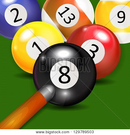 Ivories, Billiard Balls Background Vector Illustration. EPS10