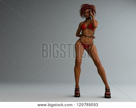 3d illustration of athletic young woman wearing red bikini