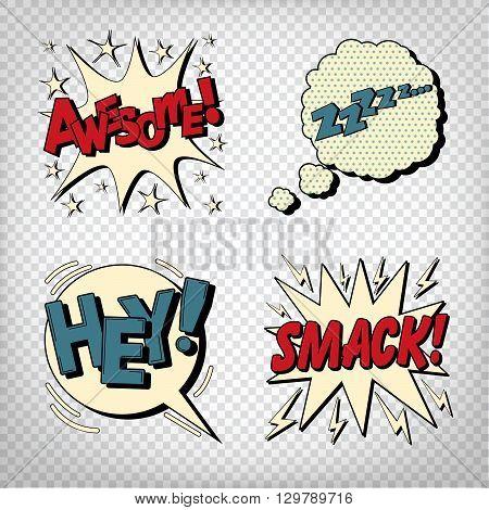 Pop Art Comic Bubbles with Expressions. Transparent Vector illustration