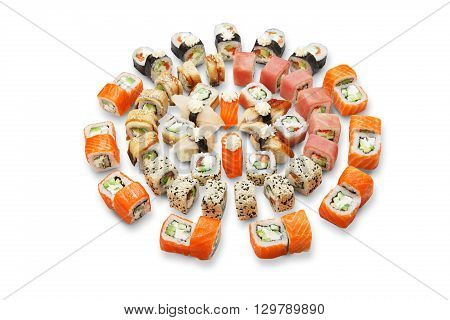 Japanese food restaurant, sushi maki gunkan roll plate or platter set. California Sushi rolls with salmon. Sushi isolated at white background.
