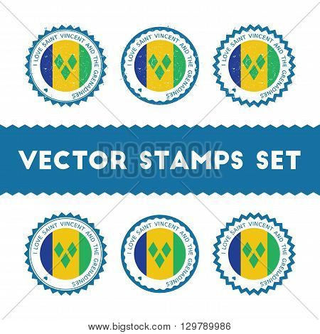 I Love Saint Vincent And The Grenadines Vector Stamps Set. Retro Patriotic Country Flag Badges. Nati