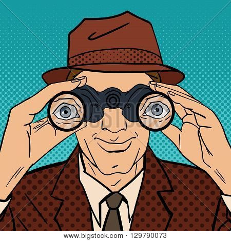 Detective with Binoculars. Man in Hat Spying for Somebody Pop Art Vector illustration