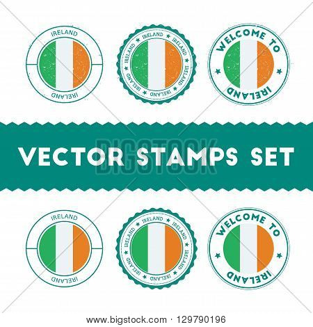 Irish Flag Rubber Stamps Set. National Flags Grunge Stamps. Country Round Badges Collection.
